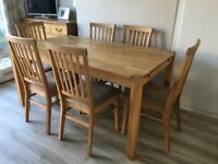 Extending Oak Dining Table and 6 Upholstered Chairs