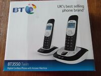 BT3550 twin Digital Cordless phone with answer machine boxed with instructions
