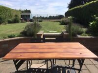 Pine Wood Stained Rustic Dining Table Top for Garden / Kitchen