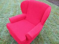 Bright Red Wingback Armchair