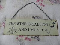 shabby chic tin sign for a wine lover