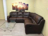Stunning Reclining Brown Leather Corner Sofa