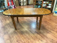Pine Ducal extending dining table. Turned legs. Moulded edge. Quality table. John Lewis supplied.