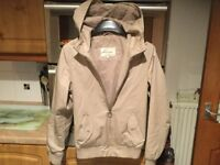 RIVER ISLAND men's beige coat with hood size XS, 18.5 inches pit-pit. IMMACULATE CLEAN CONDITION.