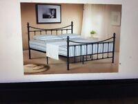5FT BLACK VICTORIAN STYLE METAL BED FRAME - NEVER ASSEMBLED