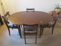 Vintage Stag Mahogany Extending Dining Table and 4 Chairs