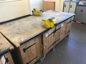 School workbench with 2 Record No3 vices attached and cupboards
