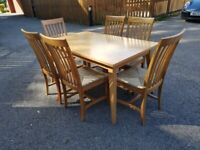 John Lewis Stride 6-8 Seat Ext Table & 6 Solid Oak High Back Wicker Seat Chairs FREE DELIVERY 720