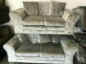 Crushed velvet sofa set