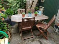 Sold! Metal Sets Available..Teak Garden Table & Four Folding Chairs