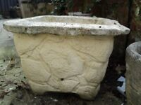 a large old square garden pot height 32 and width 44 cms x 44 cms