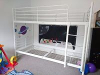 Children's white metal IKEA bunk-bed frame only. Collection only