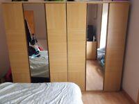 2 x 3 door mirrored wardrobes