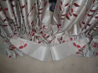 Dunelm Beige/Red Silk like Curtains with 4 Matching Square Cushions and 4 Matching Boudoir Cushions