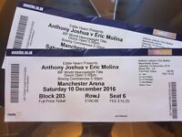 Pair of tickets for Anthony Joshua Vs Eric Molina Manchester Arena Sat 10th Dec 2016 £300 Block 203
