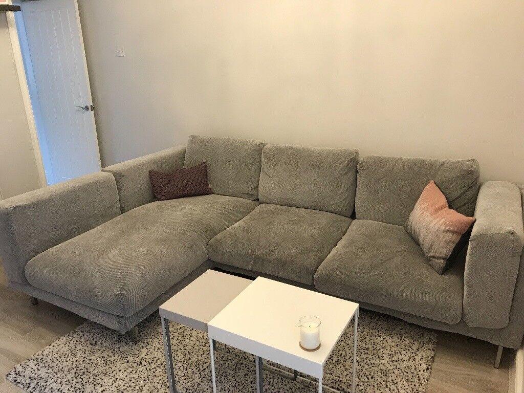 Ikea 3 Seater Corner Sofa Nockeby Tallmyra White Black