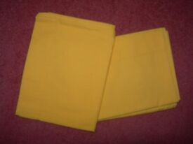 ONE PAIR VINTAGE PILLOW CASES : YELLOW ~ USED ONCE ON GUEST BED