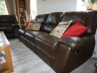 Leather sofa and armchairs