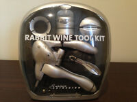 Metrokane 6-Piece Rabbit Wine Tool Kit in Silver (unused gift) JUST REDUCED