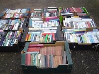 10 boxes of assorted paperback books, also including several vintage hardback books