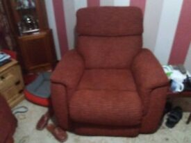 Two seater recliner and chair one year old