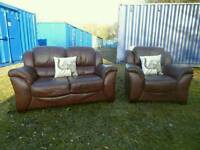 Quality Brown Leather 2 Seater Sofa+Armchair *Free Delivery*