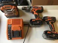 18v Cordless Hammer Drill / Driver Impact Driver and Radio Set with 3 Batteries