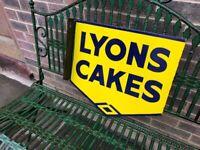 Lyons Cakes, double sided enamel advertising sign