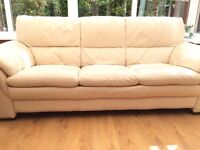 DFS Leather Sofas - Good condition 3 seater with matching arm chair
