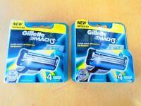 Gillette Mach 3 Men's Razor Blades - 8 (2x4) of New Packaging UK Stock
