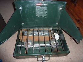 Coleman Duel Fuel Stove with funnel.