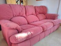 Three seat settee, two seat settee, Armchair and Footstool, Buffalo hide fabric. Wine/Burgundy
