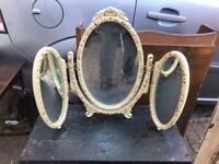 MID-CENTURY TREBLE DRESSING TABLE MIRRORS WHITE & GOLD