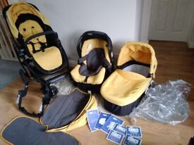 Graco Evo Travel System 3 in 1 - Yellow Pram/Buggy, inc Isofix/Belt Car Seat, Cot, Raincover