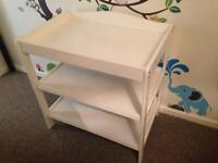 White wooden changing table unit