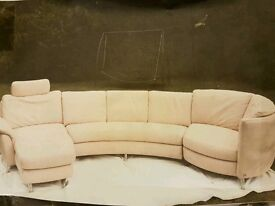 Chaise lounge beige suede couch