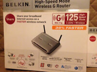 BELKIN 125 High Speed Mode Wireless G Router and Network Card used on VIRGIN Network Wil Post