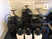 x3 sonik tournos 8000 big pit reels excellent condition. Comes with spare spools and line