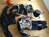 RST Adventure motorbike touring suit, jacket, boots, soft luggage, bungees, helmet