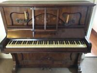 SOLD Oscar lobl piano with vintage candle holders and stool