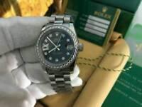 LADIES Rolex Datejust Black Dial diamond bezel