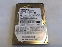 toshiba 160 GB laptop SATA HDD mk1652gsx