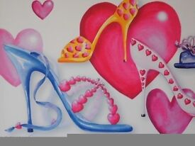 Large Hearts & Stilettos Stretched Canvas