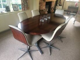 ARCHIE SHINE ROSEWOOD OVAL DINING TABLE & 6 CHAIRS AND MATCHING WALL HUNG SIDEBOARD