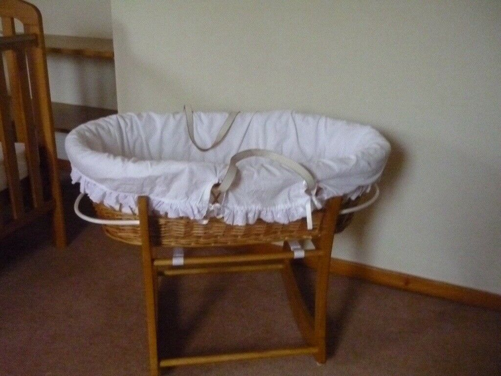 Moses Basket on cradle stand,good condition.
