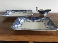 Vintage meat dishes and gravy boat