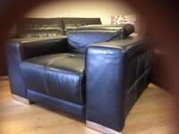 Black leather corner sofa & chair adjustable Headrests