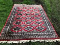 Handmade wool and Silk Bokhara Rug