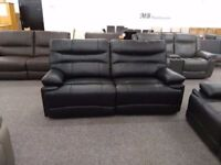 Ex Display SCS Williams Black Leather 3 & 2 Seater Manual Recliner Sofas **CAN DELIVER**