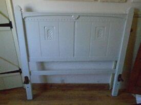 Vintage Oak Bed frame painted in eggshell.